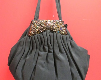 1940's Vintage Purse/ Black evening purse with jewels LadiesHandbag