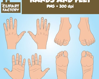 Clip Art: Hands and Feet - Color and Black and White