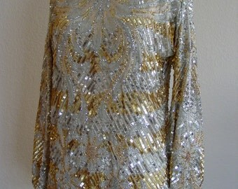 1960 Silver & Gold Sequin Top/Party/Special Occasion/Old Hollywood/Red Carpet
