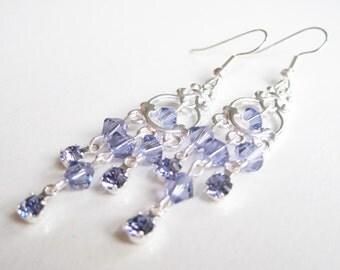 Violet chandelier earrings, Swarovski earings, long purple dangle, tanzanite earrings, lilac bead earrings