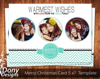 Christmas Card Template, Happy New Year Card, Holiday Card Photocard Photoshop Template Instant Download - BUY 1 GET 1 FREE: cardcode-143