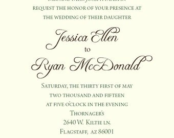 Jessica Wedding Invitation Printable