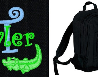 FREE SHIPPING - Personalized Monogrammed Alligator Crocodile Backpack Book Bag school tote  - NEW