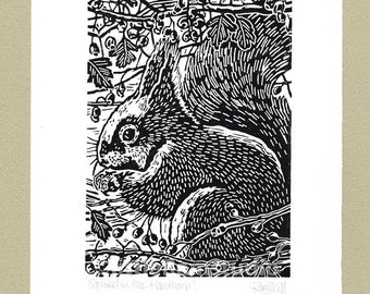 Squirrel in the Hawthorn - Linocut in black ink Original hand-pulled Relief Print