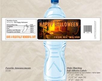 Halloween Water Label, Halloween Party, Custom Sticker, Halloween Sticker, Halloween Decor, Halloween Wedding, Pregnancy (Set of 20)(Y559)