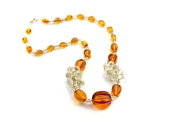 Amber Glass Beaded Necklace / b4
