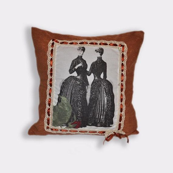 Vintage pillow victorian pillow decorative pillow retro