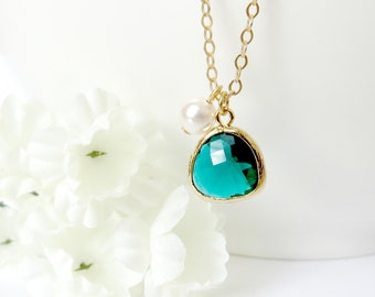 Dark Green Gemstone Pendant Necklace, Gemstone and Pearl Necklace, Holiday Gift, Christmas Gift, Bridesmaid Necklace, Gift for Best Friend