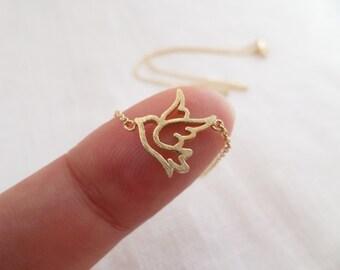 Tiny gold sparrow necklace...dainty handmade necklace, everyday, simple, birthday, wedding, bridesmaid jewelry
