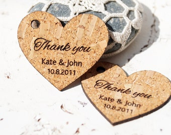 Rustic wedding favor tags, cork heart tags, personalized wedding tags, custom engraved wedding thank you tags