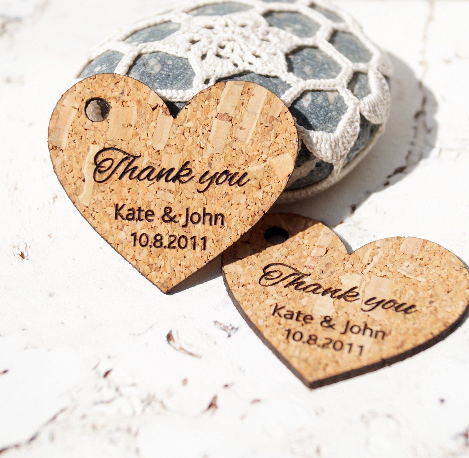 Rustic Wedding Gift Tags : Rustic wedding favor tags cork heart tags personalized