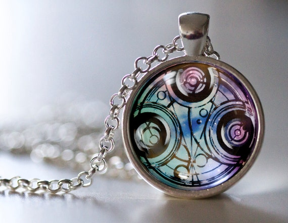 doctor who inspired gallifreyan symbol pendant necklace time