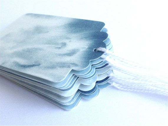 12 small scalloped indigo blue water colour gift label tags rain washed sky