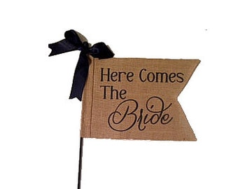 Burlap Here Comes The Bride  and Just Married Flag