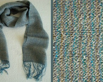 Handwoven Linen Scarf. Grayish-Blue Boucle Scarf