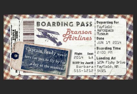 Préférence Vintage carte dembarquement avion Invitation pour fête FU61