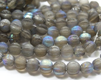 Czech Glass 6mm Melon Bead Etch Crystal AB 25 Pieces.