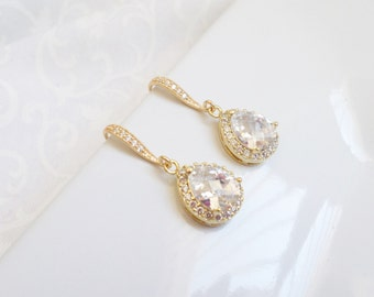 FREE United States Shipping Gold Cubic Zirconia Teardrop Bridal Earrings Crystal Teardrop Bridal Earrings Cubic Zirconia Bridal Jewelry