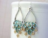 Earrings, turquoise and silver peacock dangle earrings