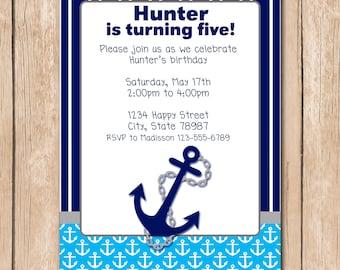 Boy Nautical Birthday Invitation | Anchor, Sailor, Navy - 1.00 each printed or 10.00 DIY file
