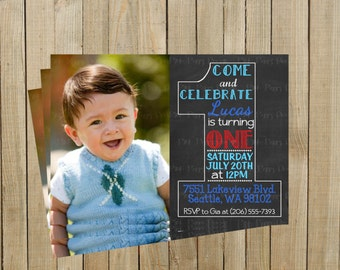 Vintage Chalkboard One First Birthday Invitation, Blue and Red, Printable, Custom Digital File