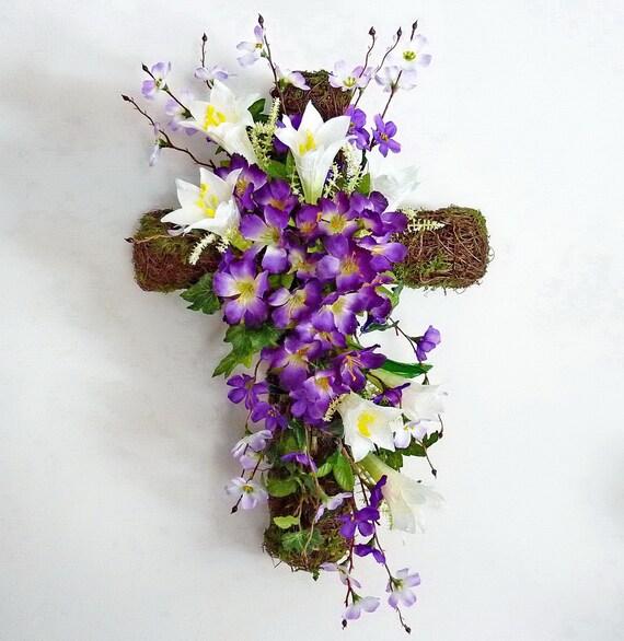 Easter Cross Spring Wreath Front Door Wreath Cross Wreath