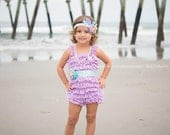 Mermaid Outfit - Under the Sea Birthday Outfit - Includes: Romper, Starfish Headband, Barefoot Sandals, Sash, Pearl Necklace - Photo Props