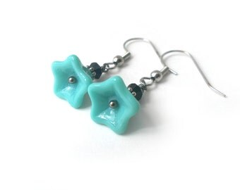 Turquoise Flower Earrings, Czech Glass Flower Earrings, Czech Glass Earrings - Available as Hypoallergenic and Clip-on Earrings