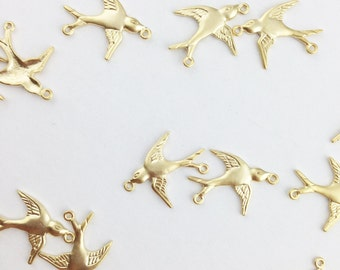 Gold Swallow or Sparrow Bird Connector Charms // Combo Bracket 3 {CG014}