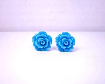 Sky Blue Rose Stud Earrings; Rosette Earrings; Flower Stud Earrings; Resin Rose Earrings; Rose Jewelry; Lead and Nickel Free Rose Studs
