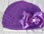 Purple Crochet Flower Hat, Toddler Crochet Hat, Infant Crochet Hat, Purple Bow with Feathers Hat, Crochet Kufi Hat with Bow
