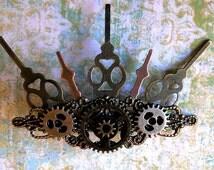 Clockwork Steampunk  Hair Clip: Industrial Clock Hands Victorian Accessory Wedding Steampunk Cosplay Comic Con