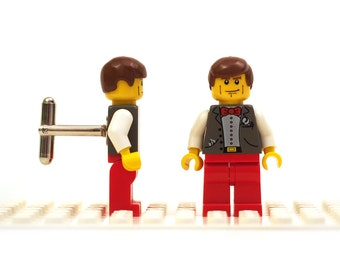Red bow tie and trousers cufflinks. Cufflinks made with LEGO(R) bricks.    Cuff links Wedding gift