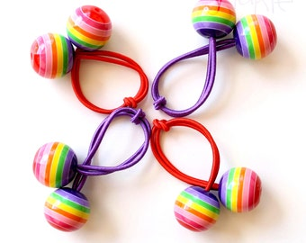 RAINBOW BOBBLES. Pony Tail Holder. Girls Hair Tie. Elastic Hair Tie. Funky. Retro Hair Bobbles. Rainbow.