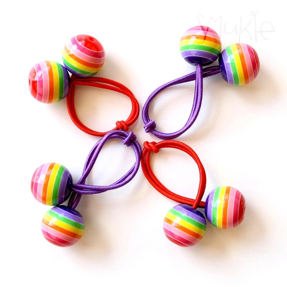 RAINBOW BOBBLES. Pony Tail Holder. Girls Hair Tie. Elastic Hair Tie. Funky. Retro Hair Bobbles. Rainbow.