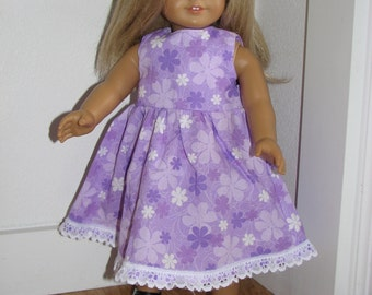 Lavender Floral Summer Dress for 18 inch doll with lace hem