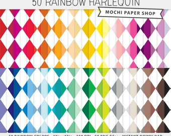 Rainbow Harlequin Digital Paper, Diamond Pattern Digital Download, Harlequin Background, Harlequin Scrapbook Paper, Harlequin PNG Files