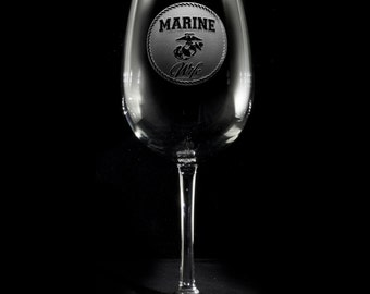Marine Wife Wine Glass, Proud Marine Corps Wife, Military Wives Gifts