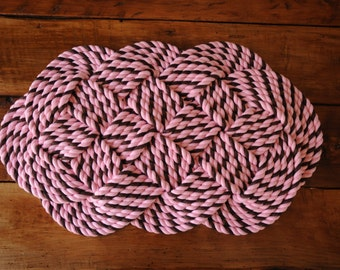 Pink and Brown Cotton Rope Rug - Nautical Bath Mat - Nautical Rope Rug - Nautical Wedding Gift - (29 x 17)