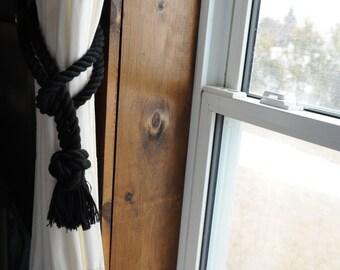 Black Cotton Rope Curtain Tiebacks - Black - Nautical Decor - Nautical Housewarming Gift - (this is for a pair)