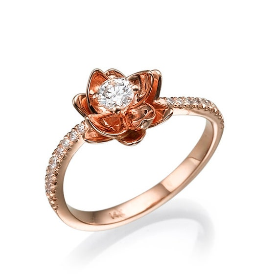 Floral Bands: Flower Engagement Ring Rose Gold Ring Unique Ring Diamond