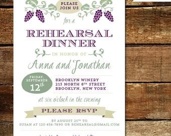 Winery, Vineyard - Wedding, Bridal Shower or Rehearsal Dinner Invitation - Printable or Printed Invitations