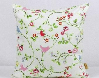 16x16, pillow, Decorative throw cover, pillow Sham, Chintz, Bird trail, Shabby chic, Floral pillow, pink, blue, green, red, birds, handmade