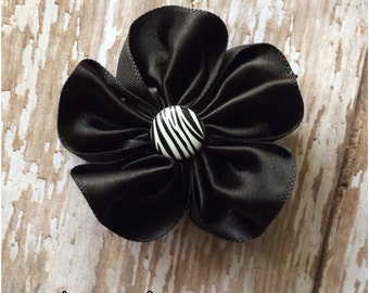SALE Black Satin Flower Hair Clip, Zebra Print Hair Clip, Girls Hair Barrette,  Alligator Clip, Toddler Hair Bow, Headbands Clip