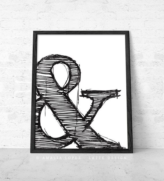 ampersand print black and white print typographic by lattedesign. Black Bedroom Furniture Sets. Home Design Ideas