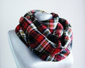 Handmade Tartan Infinity Scarf - Wool - Yellow Red Black White - Winter Autumn Scarf - Men Unisex Scarf