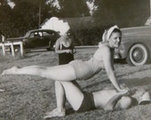 Original 1940's Balancing In The Park Snapshot Photo