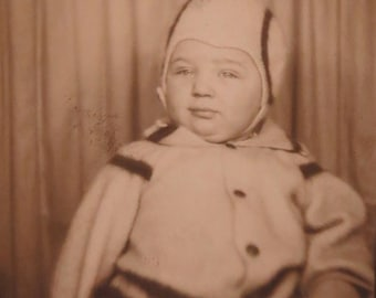 Cute 1940's Baby Wrapped Up For Winter Photo Booth Photo - Free Shipping