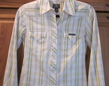 Western Shirt Pearl Snaps Women's Vintage Cowgirl Lucky Brand