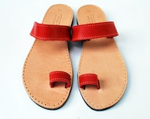 Red toe ring sandals, handmade women leather sandals, handmade wholesale